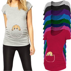 Pocket baby pee a boo Print Maternity Shirt Plus size XXL