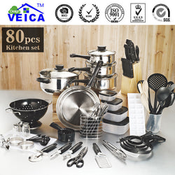 2017 Real Cookware Cooking Pots And Pans Set 80 Piece Kitchen Starter Combo Utensil
