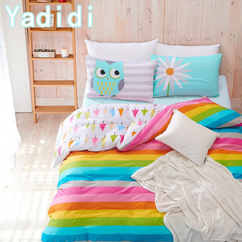 YADIDI 100% Cotton Rainbow Owl Bedding Set