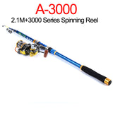 Fishing Tackle Proberos Fishing Rod 2.1/2.4/2.7/3.0/3.6M+1pc Fishing Reel 2000/3000 Series * Pro Beros Fishing Rod - Periwinkle Online