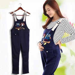 Maternity Pants Spring Autumn cartoon Plus Size Overall Suspender Trousers