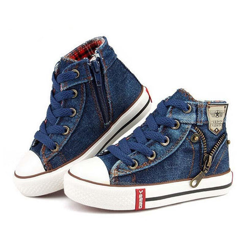 2016 Spring Unisex Casual Denim canvas child flat boots 25-37