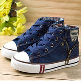 Spring Unisex Casual Denim canvas child flat boots 25-37 * Uninice Kids Unisex Shoes - Periwinkle Online