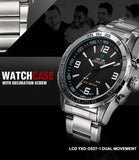 Weide Full Steel Watches Men's Quartz LED Digital Military Watch for Men