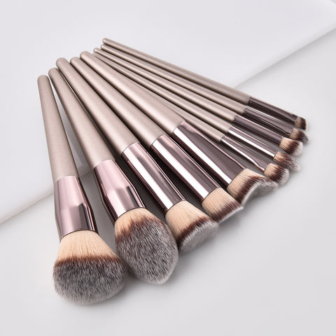 Elecool Champagne gold 10Pcs/Set High Quality Pro Makeup Brush Kit MZ94057