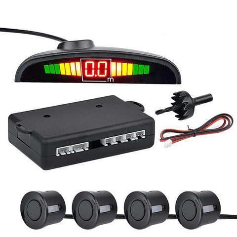 Black Auto Parktronic LED Parking Sensor with 4 Sensors Reverse Parking Monitor Detector System
