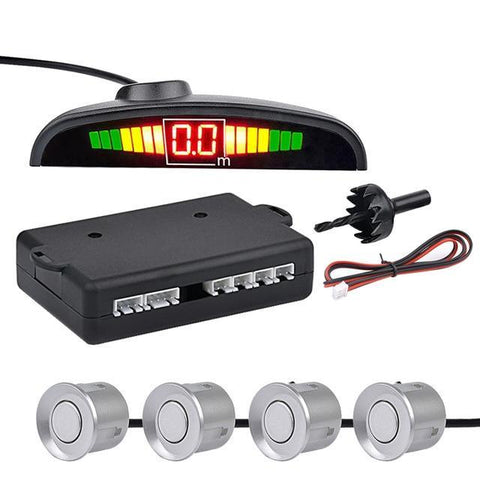 Silver Auto Parktronic LED Parking Sensor with 4 Sensors Reverse Parking Monitor Detector System
