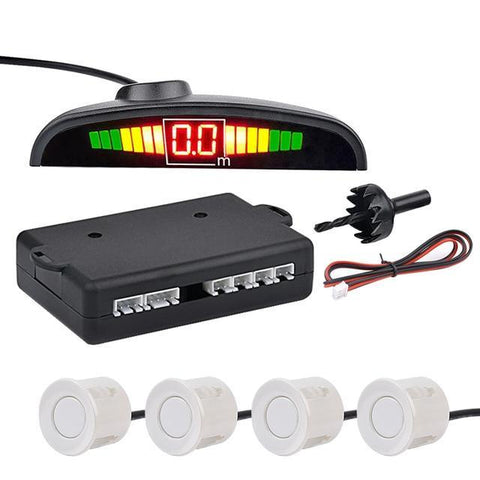 White Auto Parktronic LED Parking Sensor with 4 Sensors Reverse Parking Monitor Detector System