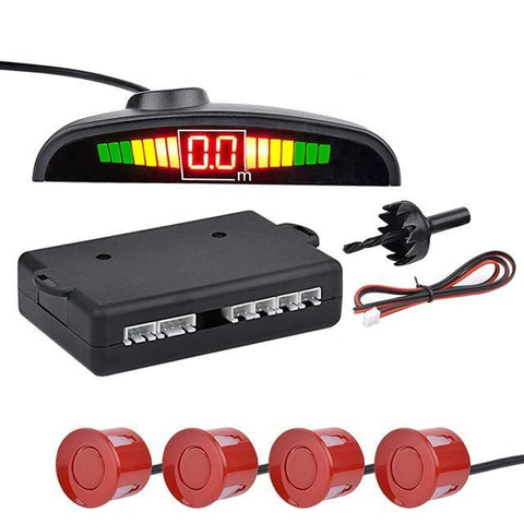 Red Auto Parktronic LED Parking Sensor with 4 Sensors Reverse Parking Monitor Detector System