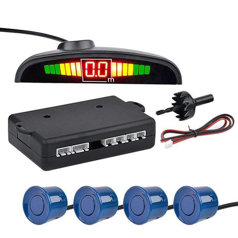 Blue Auto Parktronic LED Parking Sensor with 4 Sensors Reverse Parking Monitor Detector System