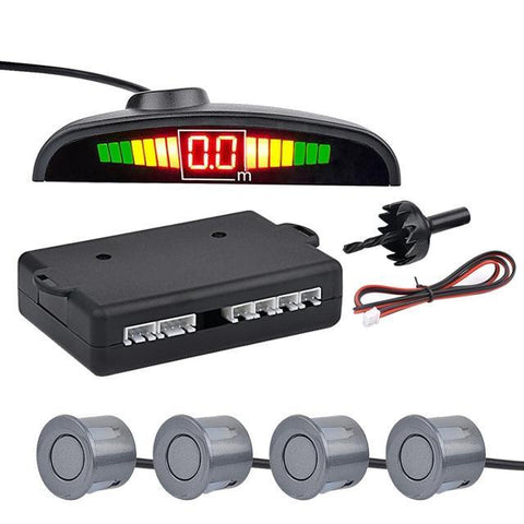Gray Auto Parktronic LED Parking Sensor with 4 Sensors Reverse Parking Monitor Detector System