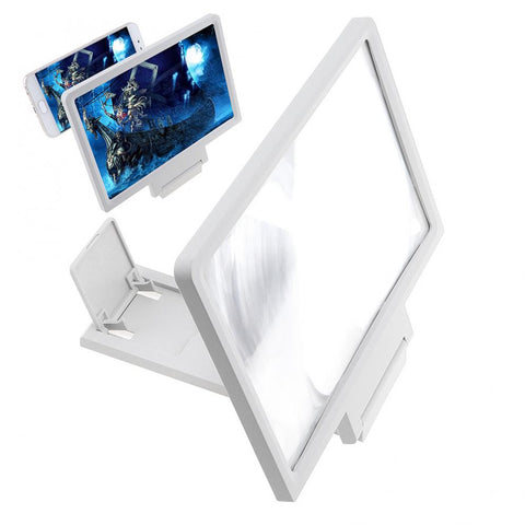 White 3X PVC+ABS Adjustment 3D Phone Movie Magnifier with Mobile Phone and Screen Bracket