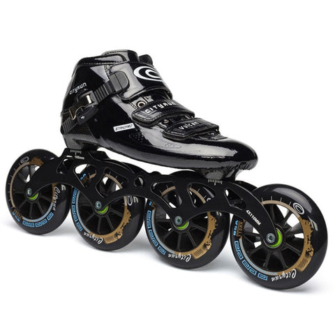 Japy Cityrun Speed Inline Carbon Fiber Professional Competition Skates 4Wheels - Black