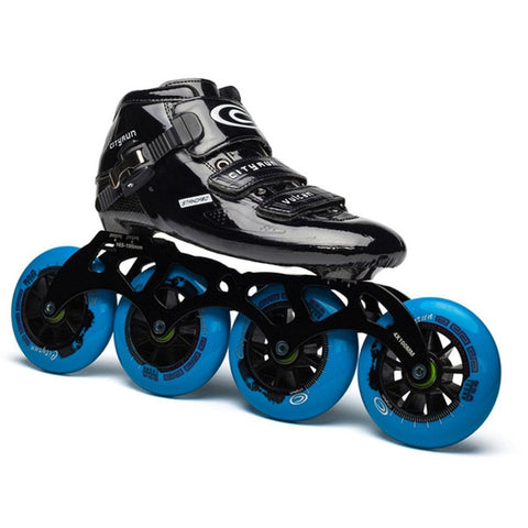 Japy Cityrun Speed Inline Carbon Fiber Professional Competition Skates 4Wheels - Black Blue
