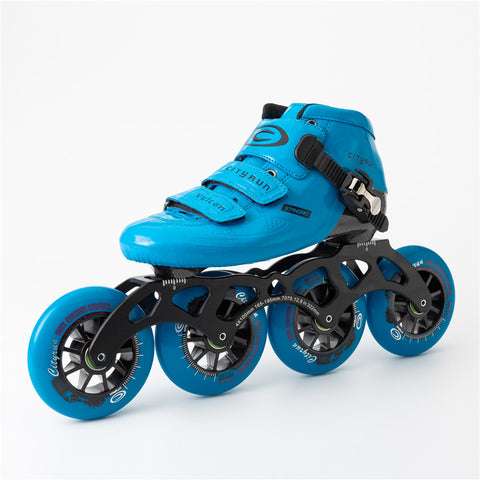 Japy Cityrun Speed Inline Carbon Fiber Professional Competition Skates 4Wheels - Blue