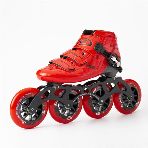 Japy Cityrun Speed Inline Carbon Fiber Professional Competition Skates 4Wheels - Red