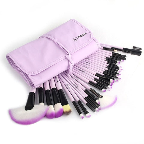 Multipurpose 32Pcs (Purple) Set Professional Makeup Brush Set Foundation Eye Face Shadows Lipsticks Powder Kit + Bag