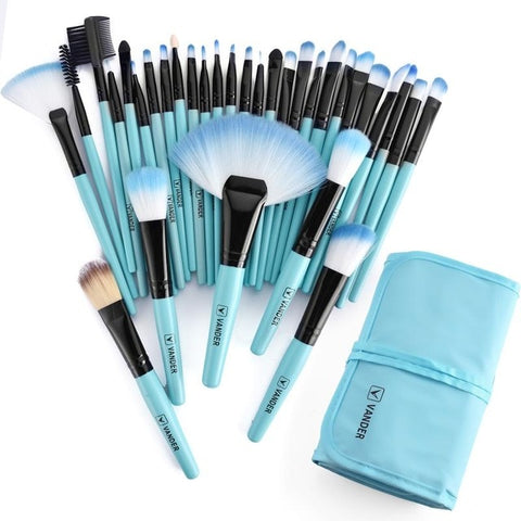 Multipurpose 32Pcs (Blue) Set Professional Makeup Brush Set Foundation Eye Face Shadows Lipsticks Powder Kit + Bag
