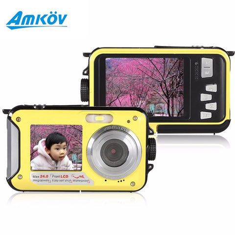 AMKOV W599 Fashion Double Screen Camera 24MP 16X Digital Zoom - Periwinkle Online