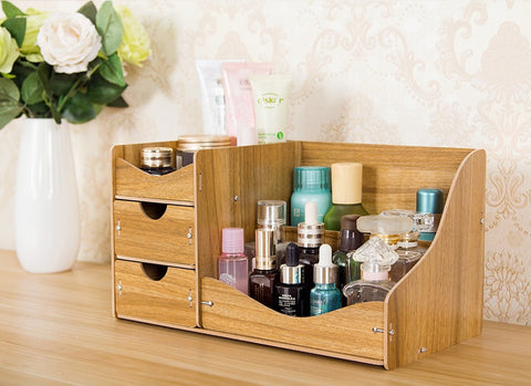 HECARE Wooden Cosmetic Makeup Organizer Modern Style DIY