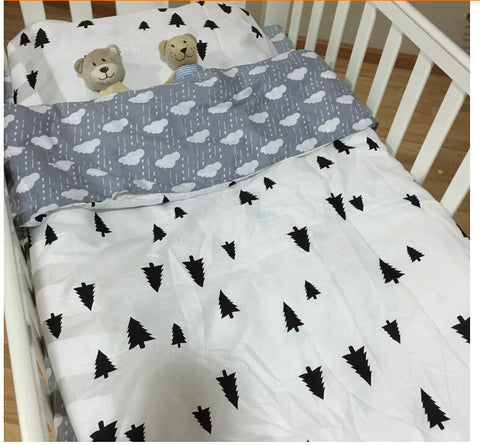 Free Shipping | 100% Cotton 3pcs Baby Crib Bedding Set (pillow case+bed sheet+duvet cover without filling) Muslin Bear - iWynx