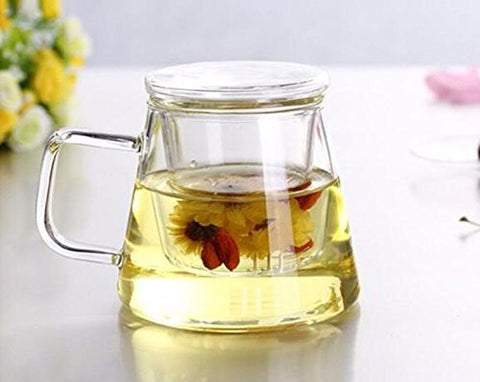 Glass Tea Infuser Cup with Glass tea strainer and glass lid, 12 oz, 350 ml