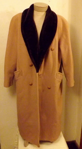 60s Abbmoor Tan Faux Mink Trimmed Womens Wool Top Coat Size XL - The Blackwolf Shop Vintage Clothing for Men and Women, Antiques and Estate Jewerly