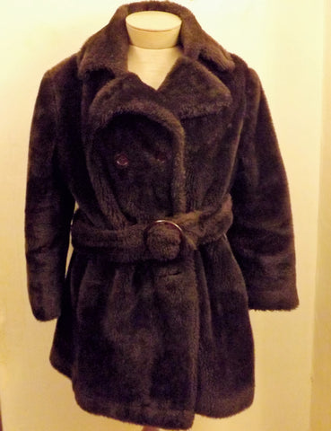50s Debutogs Faux Fur Brown Belted Pea Coat Size L - The Blackwolf Shop Vintage Clothing for Men and Women, Antiques and Estate Jewerly