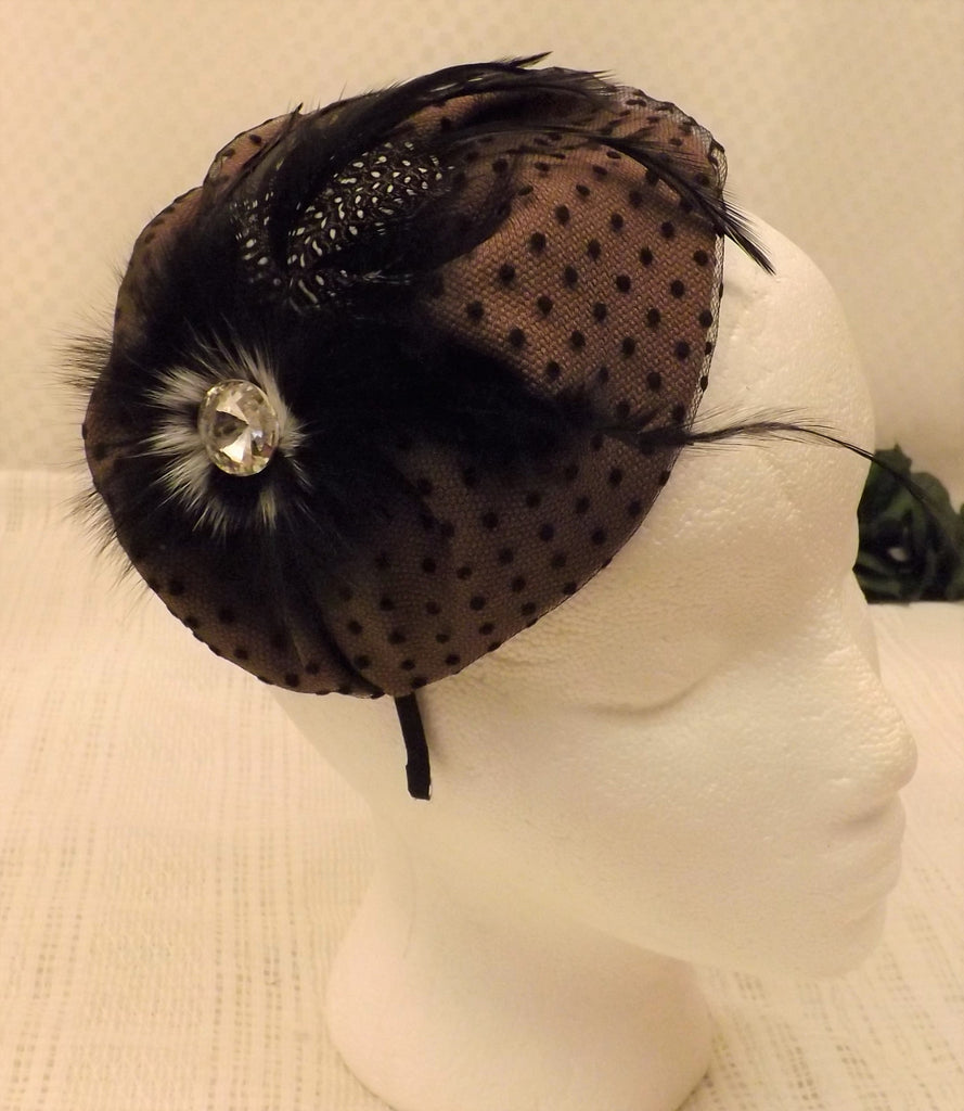 Vintage 50's Ostrich Feather Fascinator Headband Hat - The Blackwolf Shop Vintage Clothing for Men and Women, Antiques and Estate Jewerly