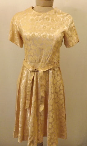 50's  Evening Party Dress Handmade Gold Lame Brocade Size 4