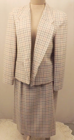 1970s Pendleton 2 pc Wool Dress Suit Plaid Blue White Size 14