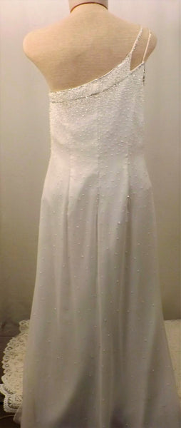 Vintage Nadine Silk Sequin White Evening Gown Size 11 - the-blackwolf-shop.myshopify.com