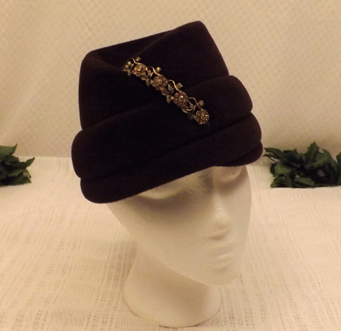 60s Betmar Dark Mauve Bucket Hat Rhinestone Decor Size 7 - the-blackwolf-shop.myshopify.com