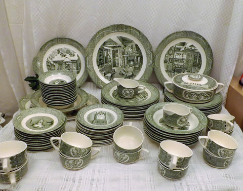 50s The Old Curiosity Shop 84 Pc China Service for 12 By Royal - the-blackwolf-shop.myshopify.com