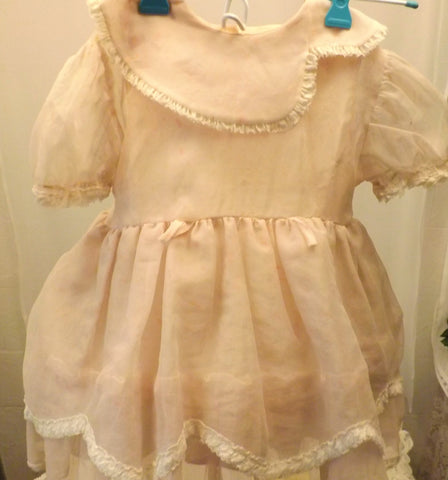 60's Baby Dress with Hoop Skirt Pink w Flowers 12 -18 - the-blackwolf-shop.myshopify.com