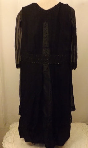 1920s Amish Style Handmade Black Mourning Bereavement Dress