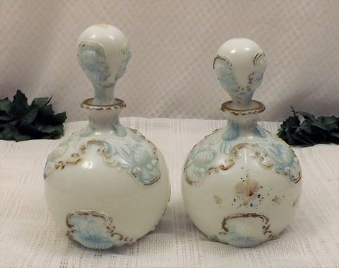 Victorian Era Barber Bottles Dithridge Milk Glass Style c 1890 - the-blackwolf-shop.myshopify.com