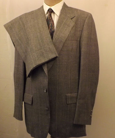 70s Mens Suit by Hart Shaffner Marx  Wool 2 pc Gray Check Size 40R