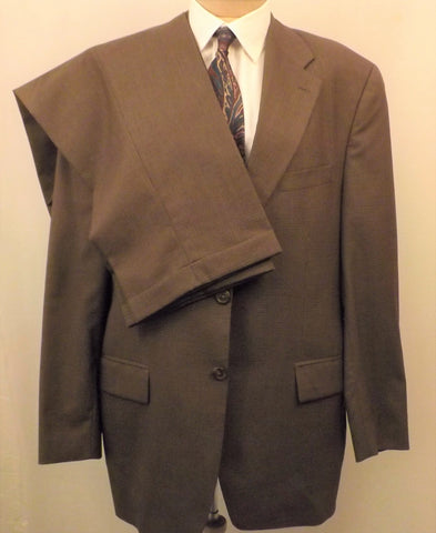 80s Ralph Lauren CHAPS Mens Brown Tattersall Wool Suit Size 42R