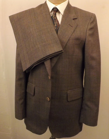 80s Mens or Boys Suit by Bill Blass Brown Check Plaid  Size 36 S