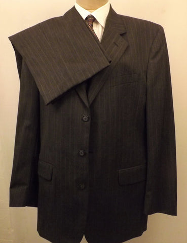 Designer Mens Suit Gray Wool Pin Stripe Suit Size 42R Oleg Cassini - the-blackwolf-shop.myshopify.com