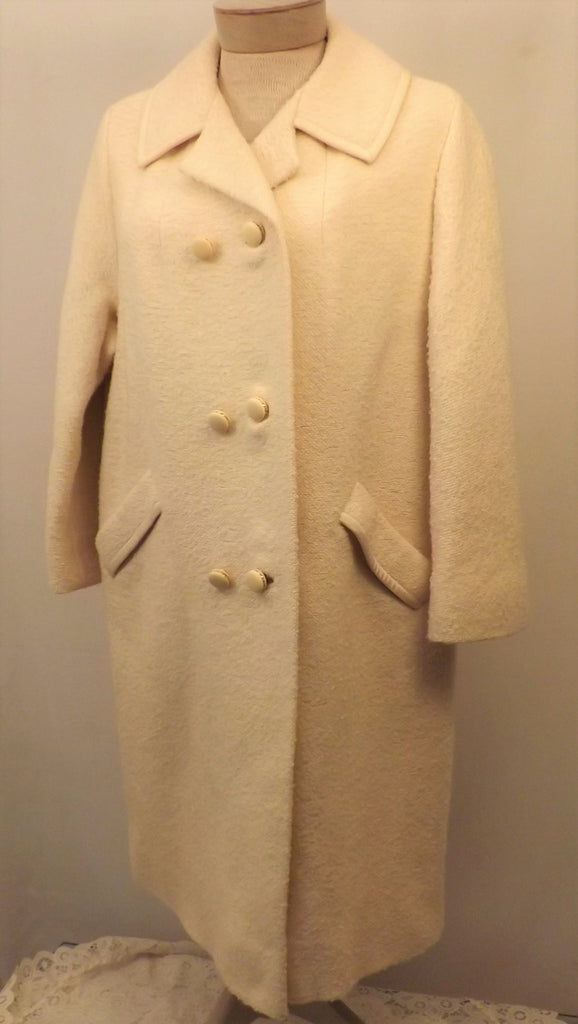 60s Vintage White Overcoat Cotton Size L by Sycamore - The Blackwolf Shop Vintage Clothing for Men and Women, Antiques and Estate Jewerly