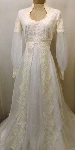60s Ivory Lace Wedding Gown w Ivory Lace Train Size 8 - The Blackwolf Shop Vintage Clothing for Men and Women, Antiques and Estate Jewerly