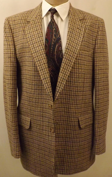 80s Designer Halston Men's Gold Tattersall Sport Coat Size 38L - The Blackwolf Shop Vintage Clothing for Men and Women, Antiques and Estate Jewerly