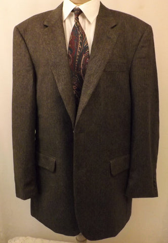 80s Jos A Banks Green Gray Wool Tweed Sport Coat  Size 43L