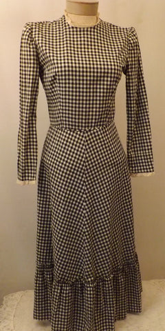 40s Jonathan Logan Black Gingham Lawn or Evening Dress Size 10