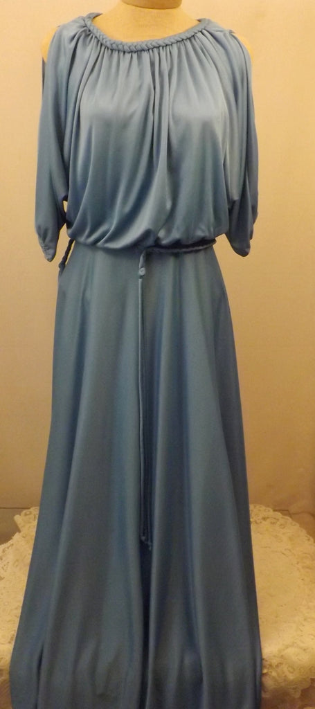 70s Vintage Bernie Bee Blue Evening Dress Size 14 - The Blackwolf Shop Vintage Clothing for Men and Women, Antiques and Estate Jewerly