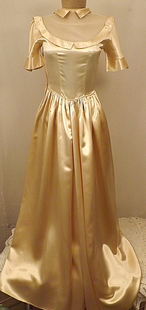 1930s Vintage Gold Liquid Satin Wedding Dress Size 4 - The Blackwolf Shop Vintage Clothing for Men and Women, Antiques and Estate Jewerly