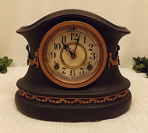 Waterbury Black Enameled Cast Iron Mantle Clock c 1890