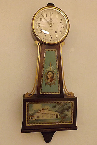 30s Plymouth Clock Co George Washington Banjo Wall Clock